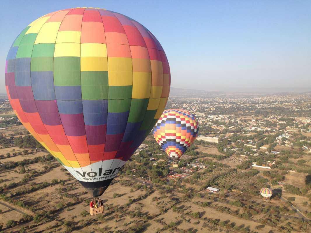 Hot Air Balloon over Teotihuacan Pyramids